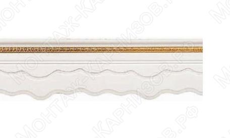 """Багетный карниз для штор """"Оланда"""" цвет """"белый с золотом"""""""